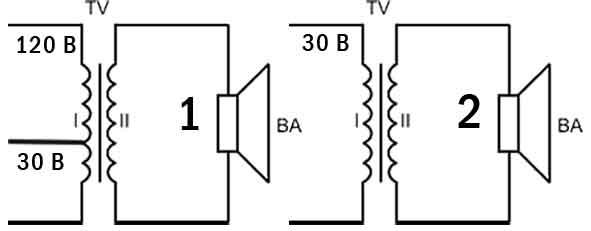 Схема электрическая принципиальная абонентских громкоговорителей без регулятора уровня